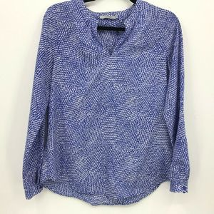 Dalia Top Y-Neck Size Small Blue Geometric